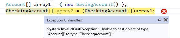 C# array contravariance InvalidCastException