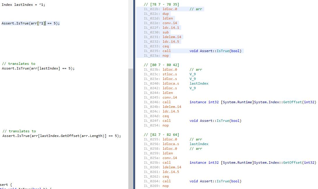 CSharp Compiler Optimization with Index