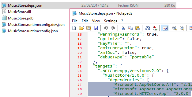 NuGet packages referenced in .deps.json file
