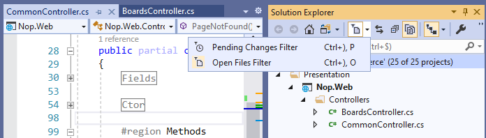 Open Files or Pending Changes Filters