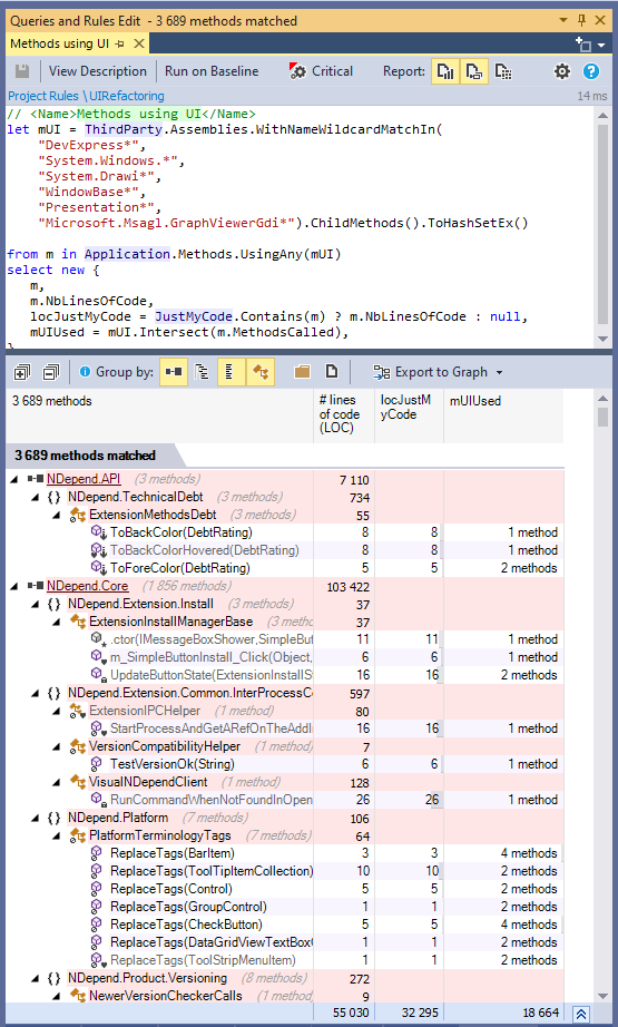 Large Scale Refactoring Impact Analysis with Code Query