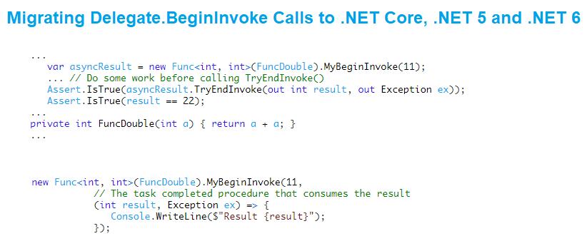 Migrating Delegate.BeginInvoke Calls to .NET Core, .NET 5 and .NET 6