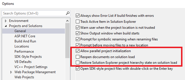 Improve Visual Studio Startup Performance