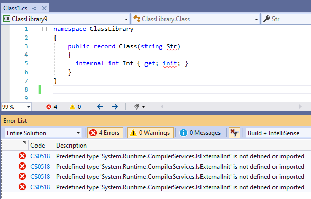 CS0518Predefined type 'System.Runtime.CompilerServices.IsExternalInit' is not defined or imported