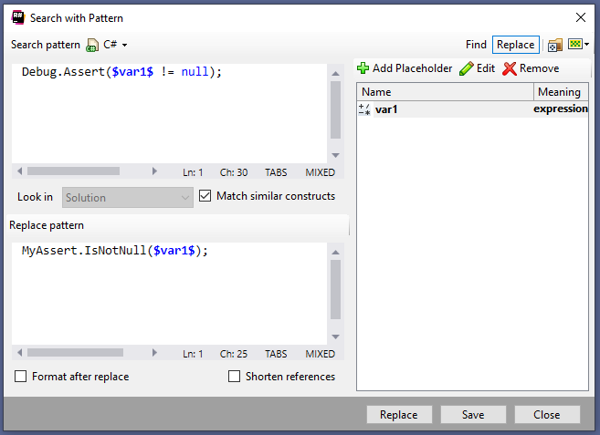 Resharper: Search with Pattern Dialog