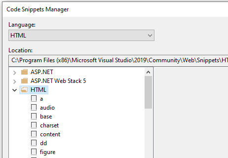 Visual Studio: Code Snippets Manager