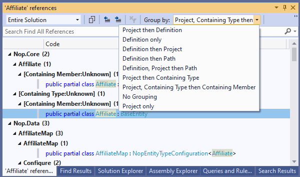 Visual Studio: Find all references Group-By combo box