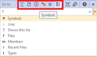 Visual Studio: Go to All Filters