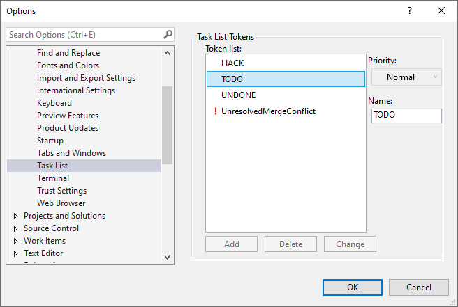 Visual Studio Task List Settings
