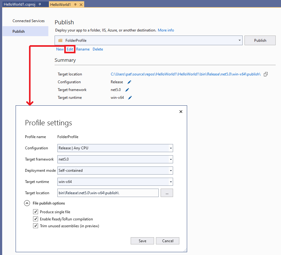 Visual Studio Project Publish Edit Settings
