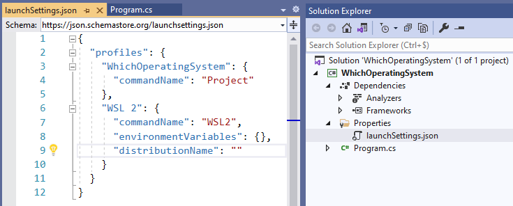 WSL2 launchSettings.json file
