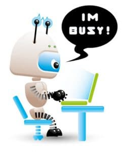 busy robot graphic