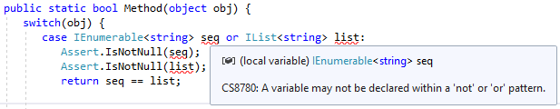 C#9 multiple variables pattern not possible with 'not' or 'or' keywords