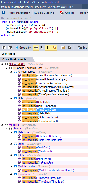 matching overloads of equality operator on struct with a ndepend query