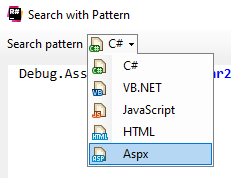 structural search and pattern works on aspx code